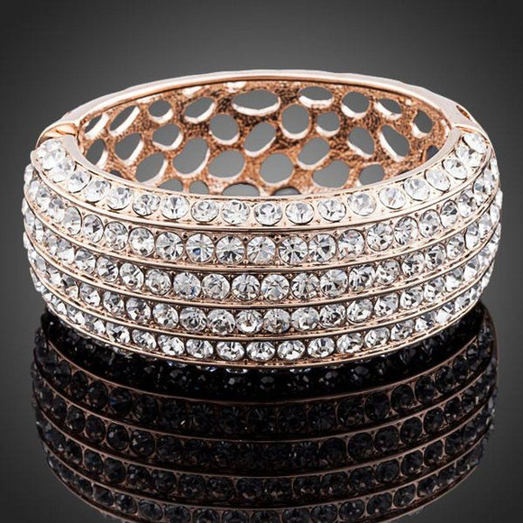 Classic Rose Gold Plated Cuff Bangle - KHAISTA Fashion Jewellery