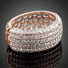 Load image into Gallery viewer, Classic Rose Gold Plated Cuff Bangle - KHAISTA Fashion Jewellery