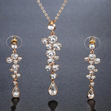 Load image into Gallery viewer, Clear Austrian Crystals Long Drop Earrings and Necklace Set - KHAISTA Fashion Jewellery