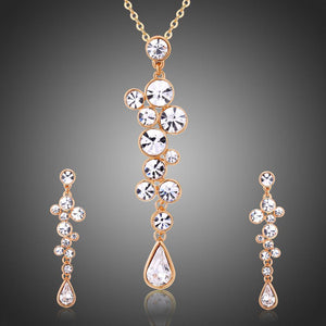 Clear Austrian Crystals Long Drop Earrings and Necklace Set - KHAISTA Fashion Jewellery