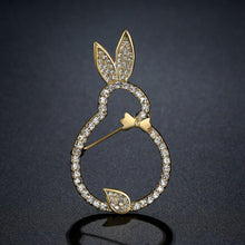 Load image into Gallery viewer, Clear Austrian Crystals Rabbit Brooch - KHAISTA Fashion Jewellery