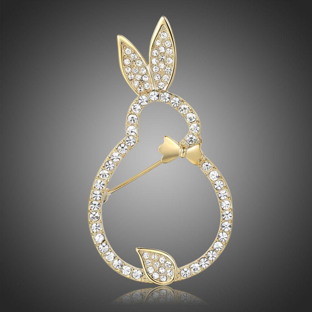 Clear Austrian Crystals Rabbit Brooch - KHAISTA Fashion Jewellery