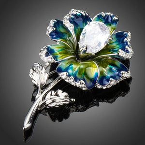 Clear Cubic Zirconia Artistic Leaf Flower Brooch - KHAISTA Fashion Jewellery