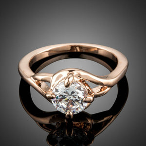 Clear Cubic Zirconia Rose Golden Ring - KHAISTA Fashion Jewellery