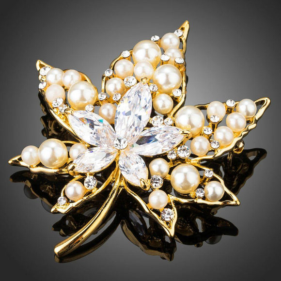 Clear Cubic Zirconia Stone Maple Leaf Shape Brooch - KHAISTA Fashion Jewellery