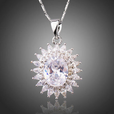 Clear Cubic Zirconia Sunflower Necklace KPN0201 - KHAISTA Fashion Jewellery