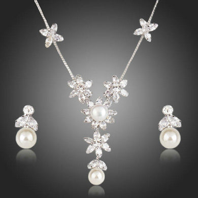 Clear Cubic Zirconia With Pearl Flower Pendant and Drop Earrings Set - KHAISTA Fashion Jewellery