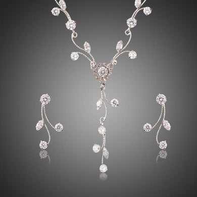 Clear Zirconia Sparkling Flower with Branch Geometric Jewelry Set - KHAISTA Fashion Jewellery