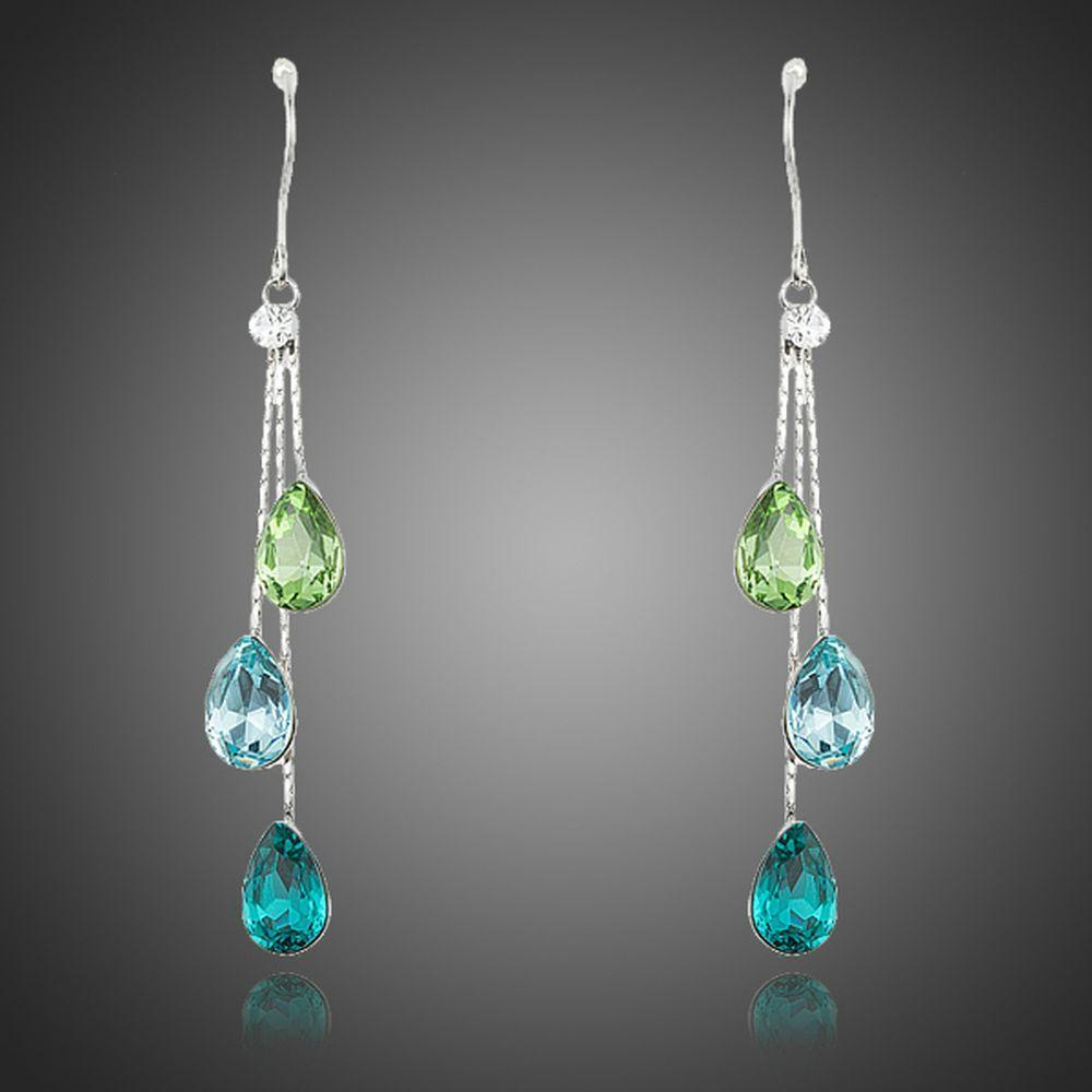 Color Raindrops Crystal Drop Earrings - KHAISTA Fashion Jewellery
