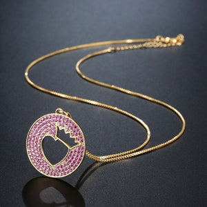 Crown Heart Hollow Round Pendant Necklace KPN0269 - KHAISTA Fashion Jewellery