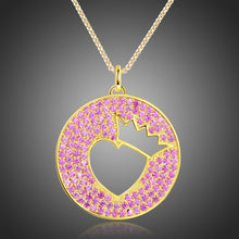 Load image into Gallery viewer, Crown Heart Hollow Round Pendant Necklace KPN0269 - KHAISTA Fashion Jewellery