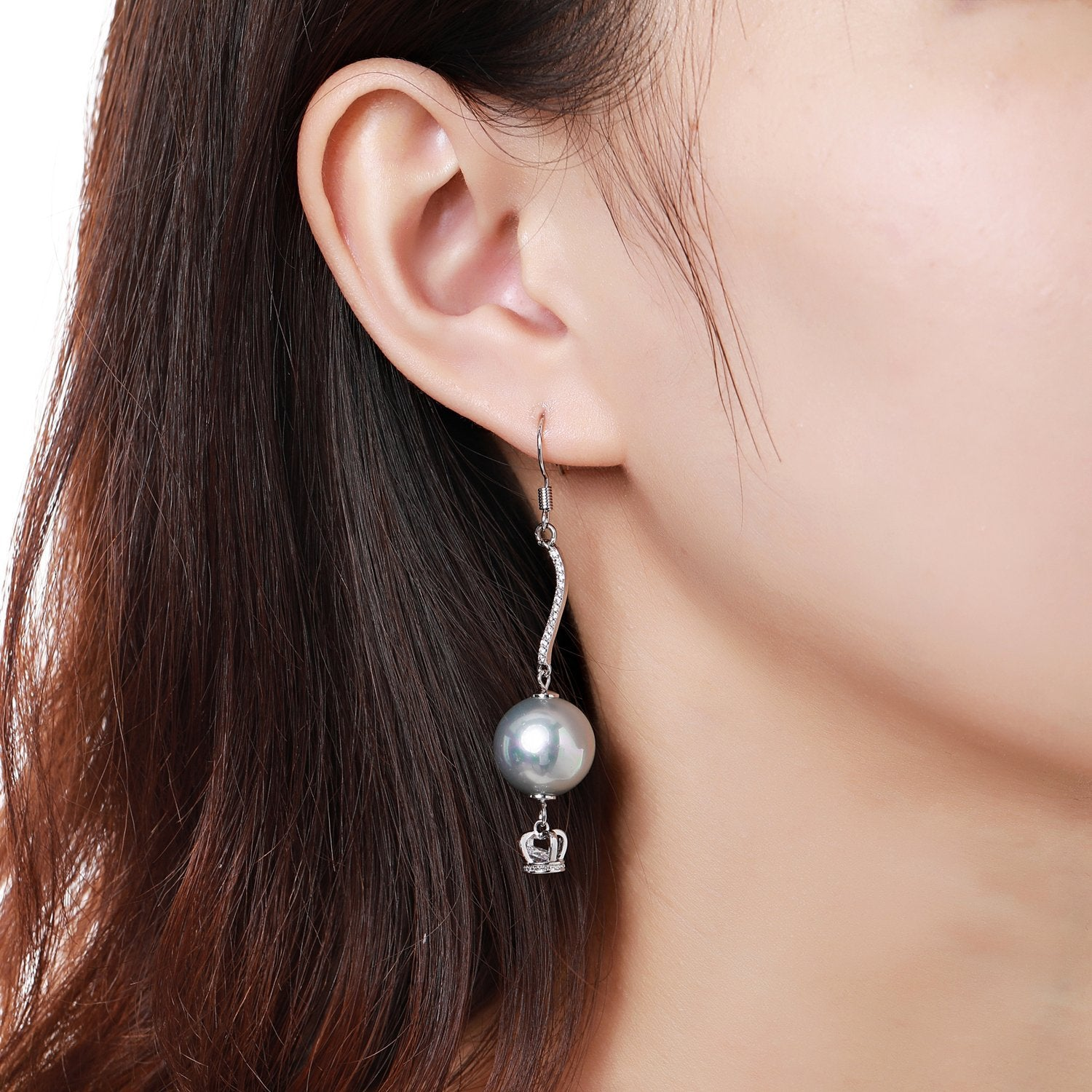 Crown Pearl Drop Earrings -KPE0373 - KHAISTA Fashion Jewellery