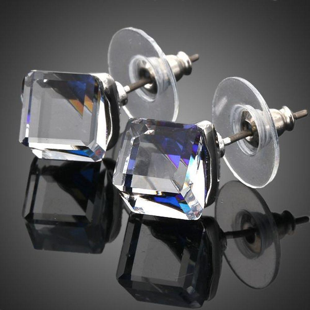 Crystal Blue Square Stud Earrings - KHAISTA Fashion Jewellery