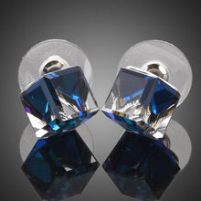 Load image into Gallery viewer, Crystal Blue Square Stud Earrings - KHAISTA Fashion Jewellery