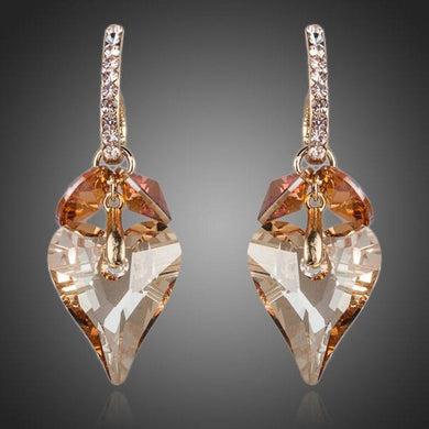 Crystal Caramel Heart Drop Earrings - KHAISTA Fashion Jewellery
