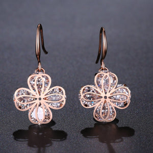 Crystal Flower Drop Earrings -KPE0325 - KHAISTA Fashion Jewellery