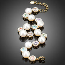 Load image into Gallery viewer, Crystal Flower Studs with Pearls Bracelet - KHAISTA Fashion Jewellery