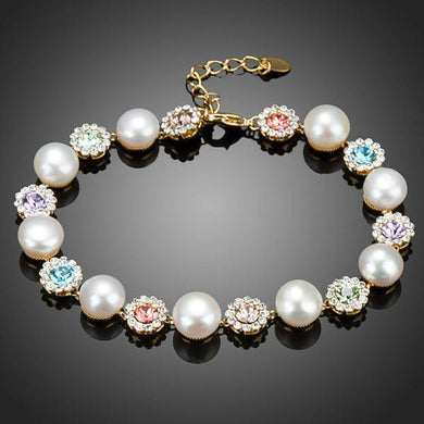 Crystal Flower Studs with Pearls Bracelet - KHAISTA Fashion Jewellery