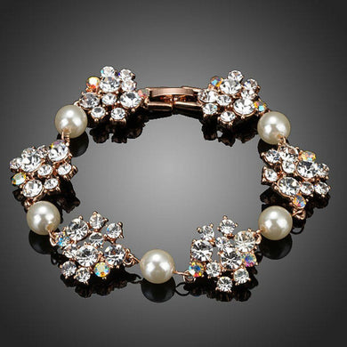 Crystal Flowers with Pearls Bracelet - KHAISTA Fashion Jewellery