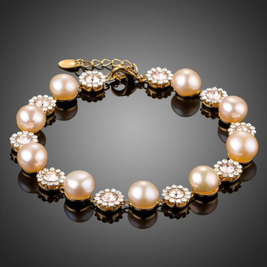 Crystal Flowers with Pearls Chain Bracelet - KHAISTA Fashion Jewellery