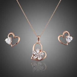 Crystal Heart Shaped Stud Earrings and Necklace Set - KHAISTA Fashion Jewellery