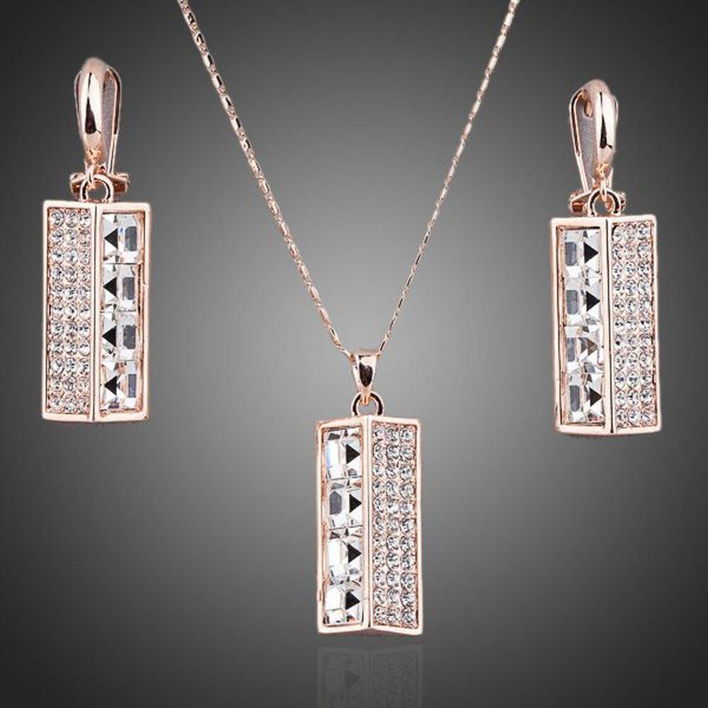 Crystal Lamp Drop Earrings and Necklace Set - KHAISTA Fashion Jewellery