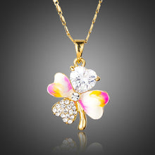 Load image into Gallery viewer, Crystal Leaf Oil Paint Design Necklace KPN0166 - KHAISTA Fashion Jewellery