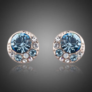 Crystal Light Blue Eyeballs Stud Earrings - KHAISTA Fashion Jewellery