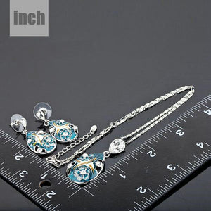 Crystal Pendant Earring and Pendant Necklace Jewelry Set - KHAISTA Fashion Jewellery