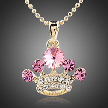 Load image into Gallery viewer, Crystal Pink Crown Necklace - KHAISTA Fashion Jewellery