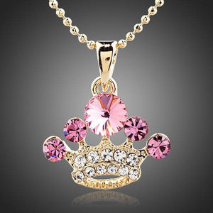 Crystal Pink Crown Necklace - KHAISTA Fashion Jewellery