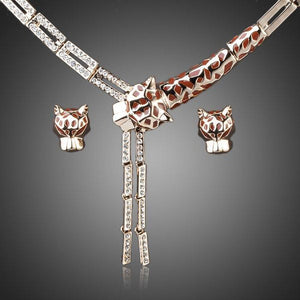 Crystal Stellux Austrian Leopard Stud Earring and Necklace Set - KHAISTA Fashion Jewellery