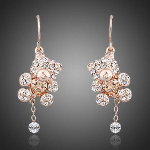 Crystal Teddy Bear Earrings - KHAISTA Fashion Jewellery