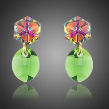 Load image into Gallery viewer, Cube with Green Leaf Drop Earrings - KHAISTA Fashion Jewellery