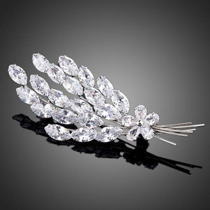 Cubic Zirconia Feather Design Brooch Pin - KHAISTA Fashion Jewellery