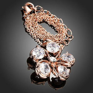 Cubic Zirconia Flower Pendant Necklace - KHAISTA Fashion Jewellery