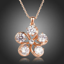 Load image into Gallery viewer, Cubic Zirconia Flower Pendant Necklace - KHAISTA Fashion Jewellery