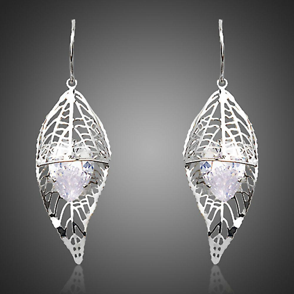 Cubic Zirconia Inside Leaf Drop Earrings - KHAISTA Fashion Jewellery