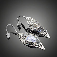 Load image into Gallery viewer, Cubic Zirconia Inside Leaf Drop Earrings - KHAISTA Fashion Jewellery