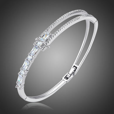 Cubic Zirconia Light Tennis Bangle -KBQ0103 - KHAISTA Fashion Jewelry