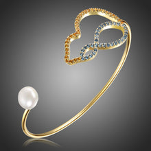 Load image into Gallery viewer, Cubic Zirconia Pearl Bangle -KBQ0117 - KHAISTA Fashion Jewelry