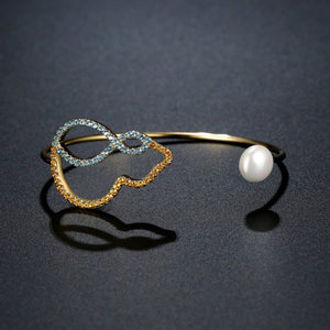 Cubic Zirconia Pearl Bangle -KBQ0117 - KHAISTA Fashion Jewelry