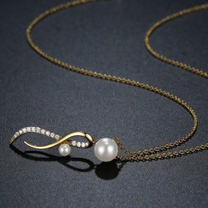 Cubic Zirconia Pearl Necklace Pendant - KHAISTA Fashion Jewellery