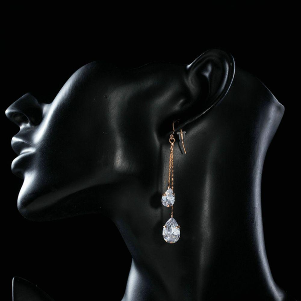 Cubic Zirconia Swing Drop Earrings - KHAISTA Fashion Jewellery