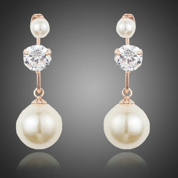 Cubic Zirconia With Pearl Drop Earrings - KHAISTA Fashion Jewellery