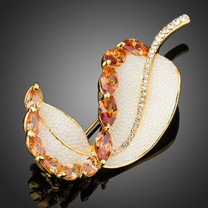 Curled Cubic Zirconia Leaf Brooch Pin - KHAISTA Fashion Jewellery