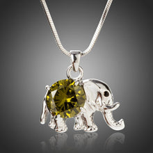 Load image into Gallery viewer, Cute Elephant Pendant with Big Round Cut Olive Cubic Zirconia Pendant Necklace - KHAISTA Fashion Jewellery