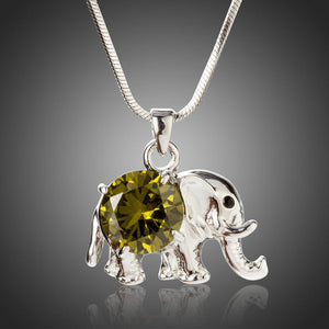 Cute Elephant Pendant with Big Round Cut Olive Cubic Zirconia Pendant Necklace - KHAISTA Fashion Jewellery