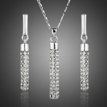 Load image into Gallery viewer, Cylindrical White Crystal Jewelry Set - KHAISTA Fashion Jewellery