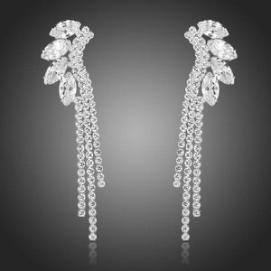 Dangling Ear Lobe Cubic Zirconia Drop Earrings - KHAISTA Fashion Jewellery